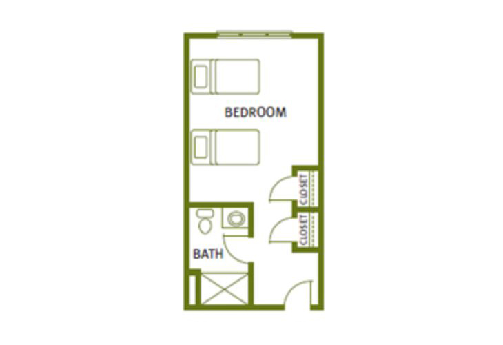 Sweetgrass Village Assisted Living Semi-Private Studio Floor Plan