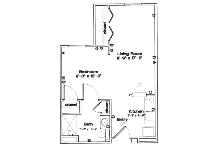Sycamore Manor Independent Living Studio Floor Plan