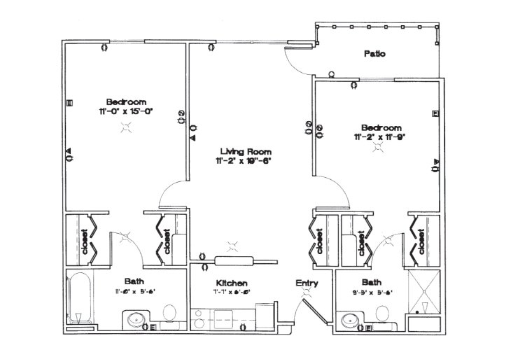 Sycamore Manor Independent Living Two Bedroom Floor Plan