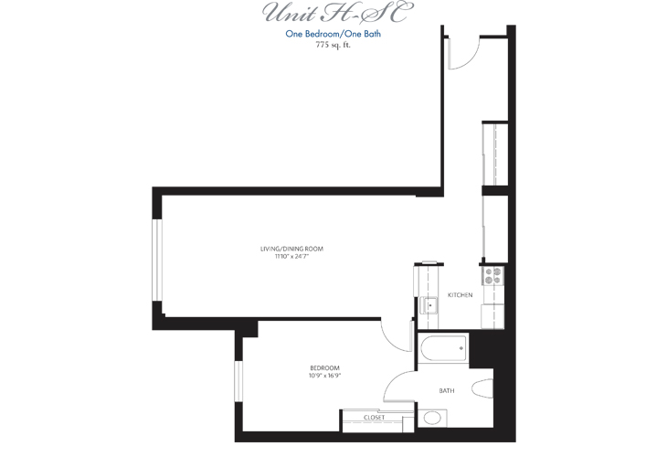 Teaneck Assisted Living Unit H SC Floor Plan
