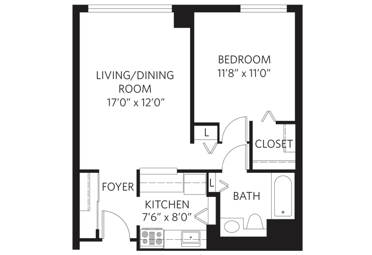 Teaneck Independent Living Unit A Floor Plan