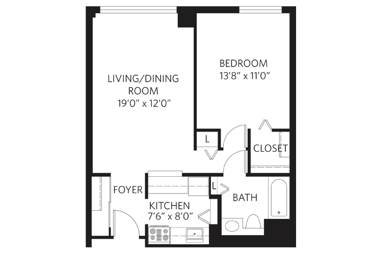 Teaneck Independent Living Unit B Floor Plan