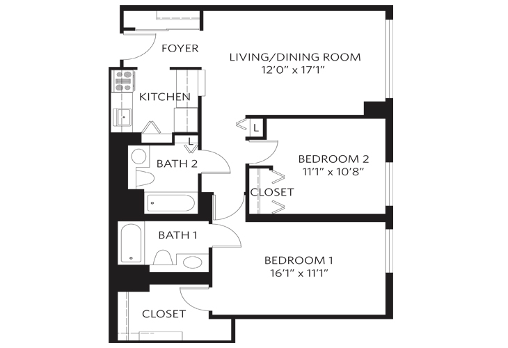 Teaneck Independent Living Unit F Floor Plan