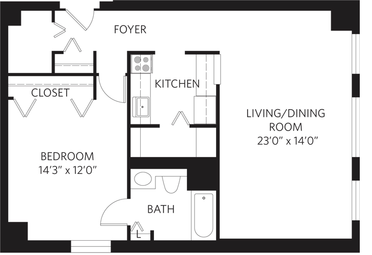Teaneck Independent Living Unit M Floor Plan