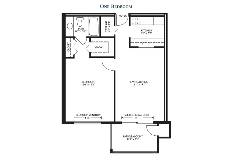 The Court at Palm Aire Independent Living One Bedroom Floor Plan