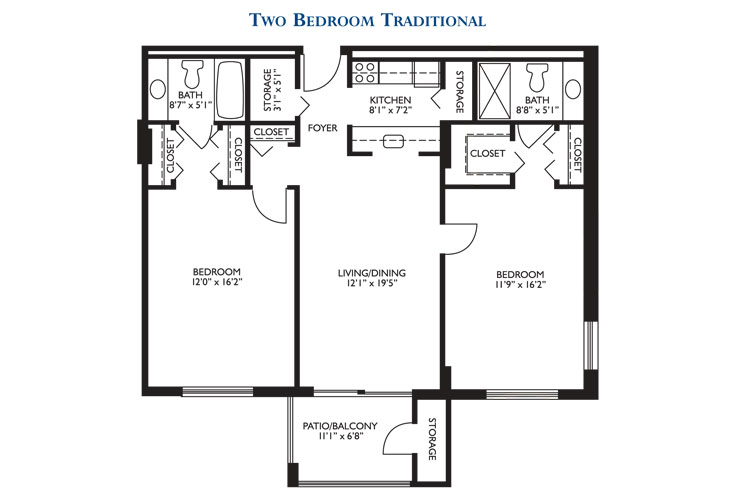 The Court at Palm Aire Independent Living Two Bedroom Floor Plan