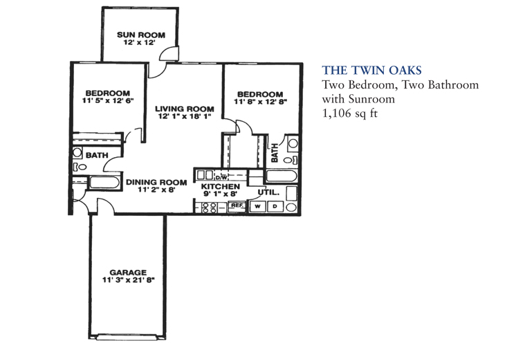 Banta Pointe Independent Living The Twin Oaks Floor Plan