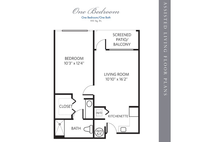 Boca Raton Assisted Living 1 Bedroom Floor Plan