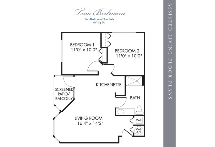 Boca Raton Assisted Living 2 Bedroom Floor Plan