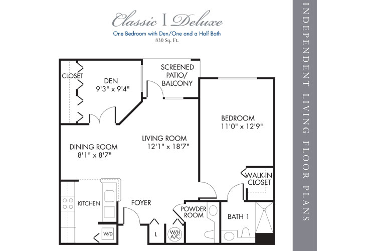 Boca Raton Independent Living Classic 1 Bedroom Deluxe Floor Plan