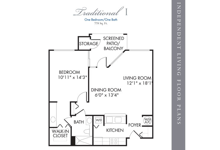 Boca Raton Independent Living Traditional 1 Bedroom Floor Plan