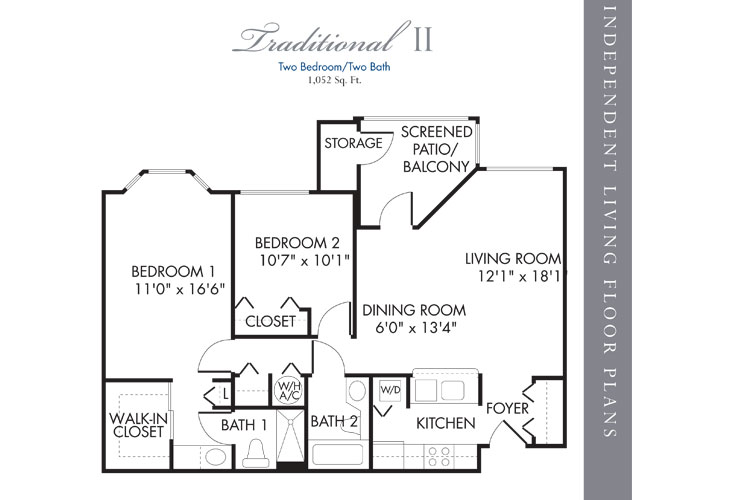 Boca Raton Independent Living Traditional 2 Bedroom 2 Bath Floor Plan