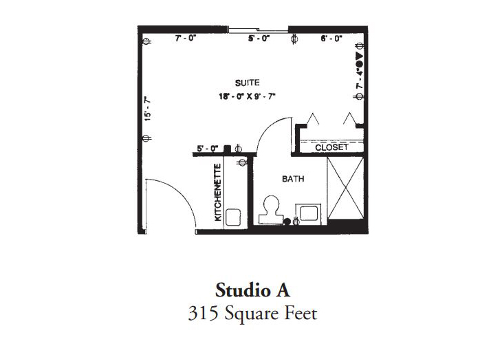 Forum at Desert Harbor Assisted Living Studio A Floor Plan