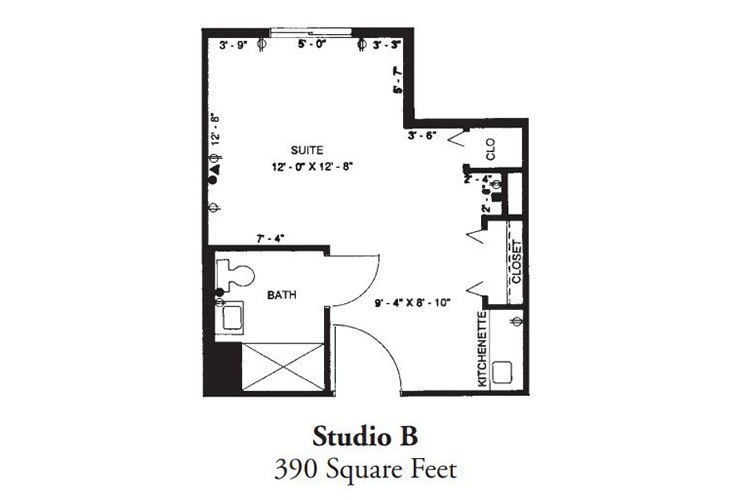 Forum at Desert Harbor Assisted Living Studio B Floor Plan