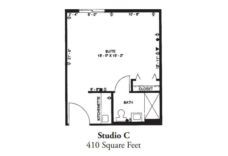 Forum at Desert Harbor Assisted Living Studio C Floor Plan