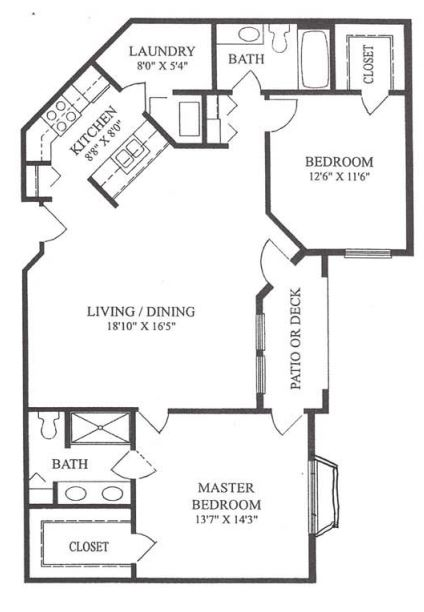 Forum at Lincoln Heights Independent Living Model H - Two Bedroom Floor Plan