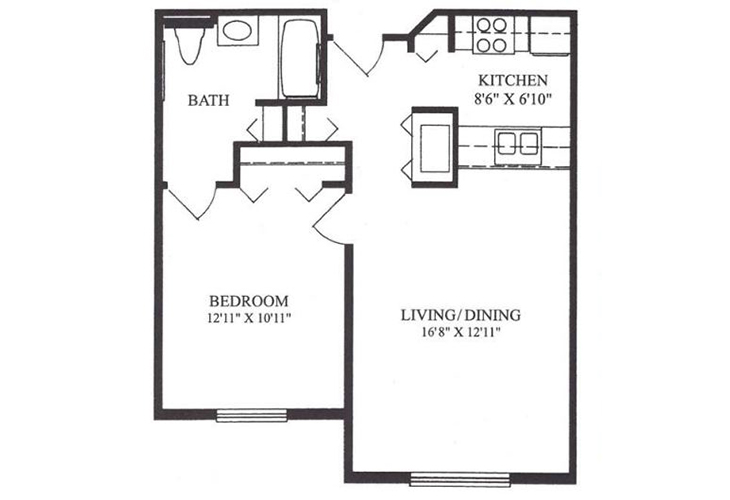 Forum at Lincoln Heights Independent Living Model A - One Bedroom Floor Plan