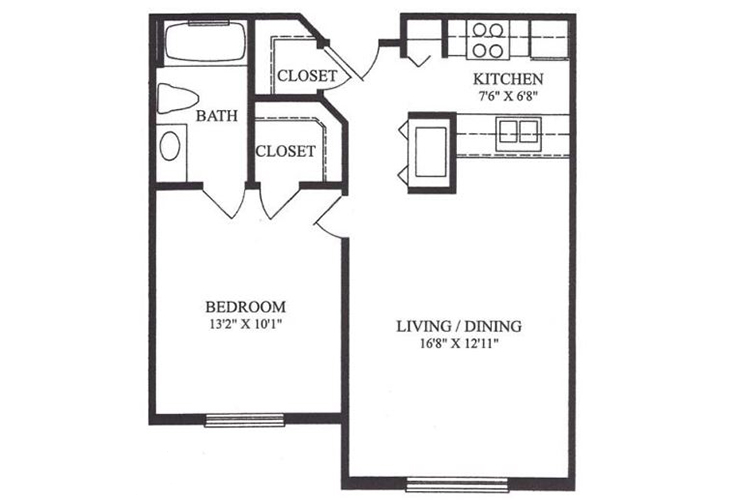 Forum at Lincoln Heights Independent Living Model B - One Bedroom Floor Plan