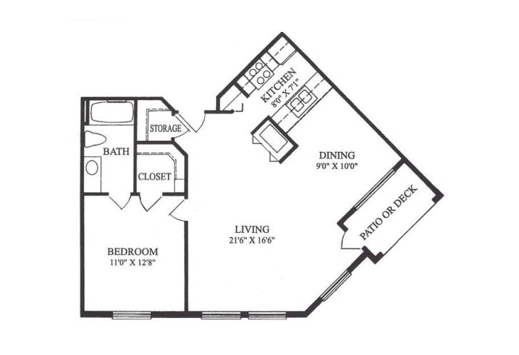 Forum at Lincoln Heights Independent Living Model E - One Bedroom Floor Plan