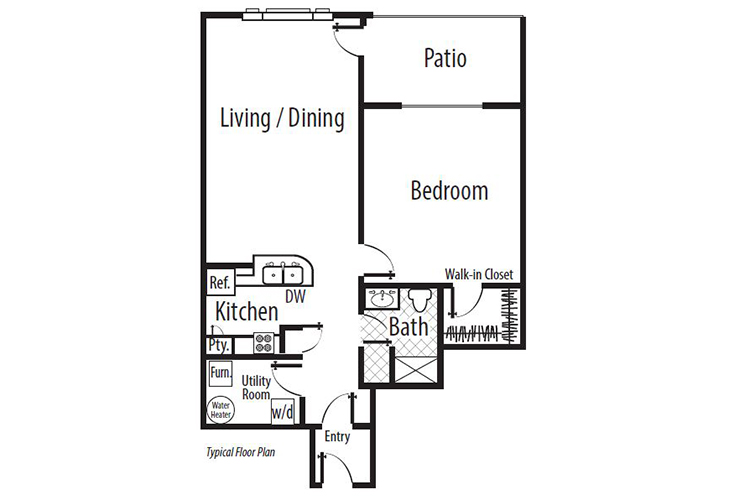 Forum at Town Center Independent Living The Towers - One Bedroom (2) Floor Plan