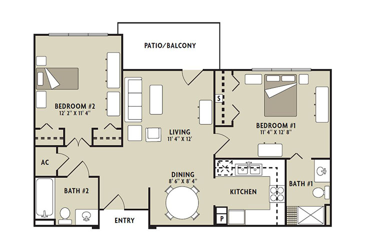 Forum at The Woodlands Memory Care Redbud Floor Plan