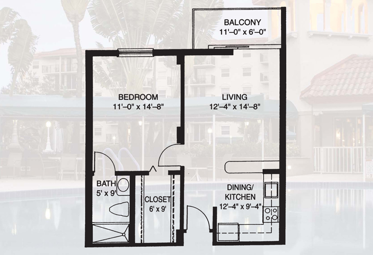 Fountainview Independent Living One Bedroom Floor Plan