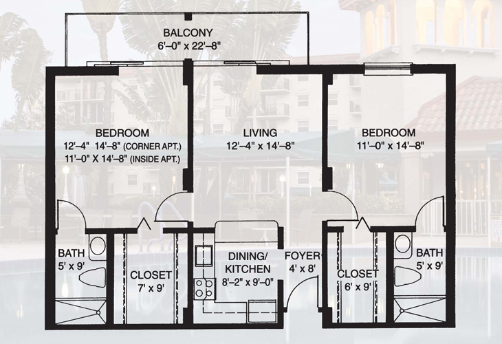 Fountainview Independent Living Two Bedroom Floor Plan