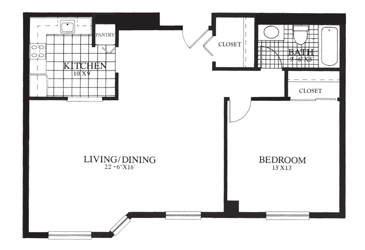 Gables at Winchester Assisted Living One Bedroom Deluxe Floor Plan