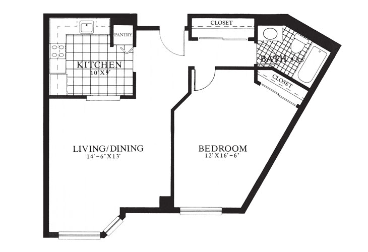 Gables at Winchester Independent Living One Bedroom Floor Plan