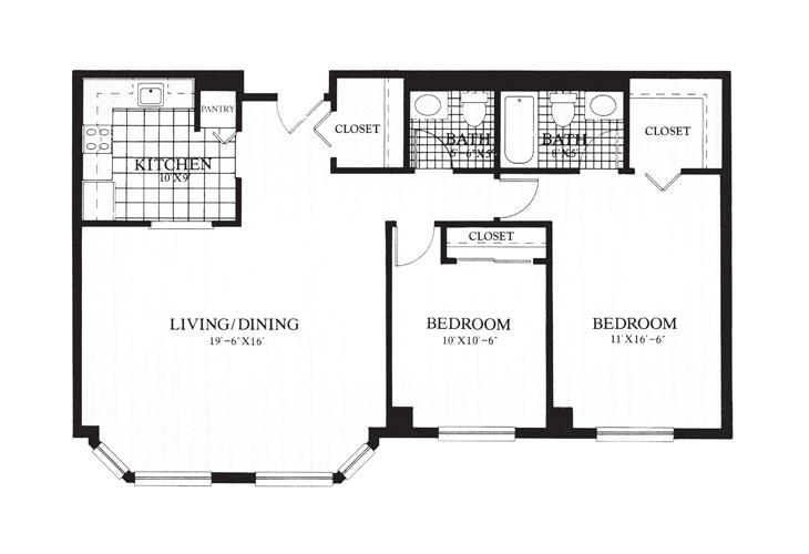 Gables at Winchester Independent Living Two bedroom Deluxe Floor Plan