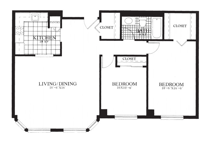Gables at Winchester Independent Living Two Bedroom Floor Plan