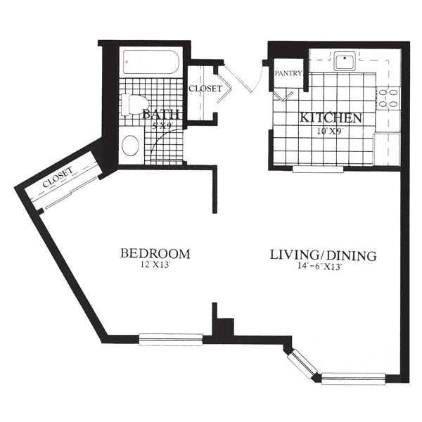 Gables at Winchester Assisted Living Studio Floor Plan