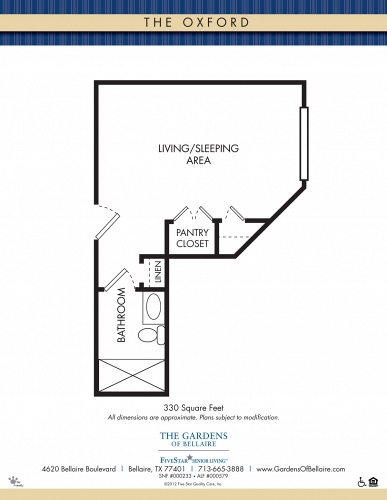 Gardens of Bellaire Memory Care Oxford Floor Plan