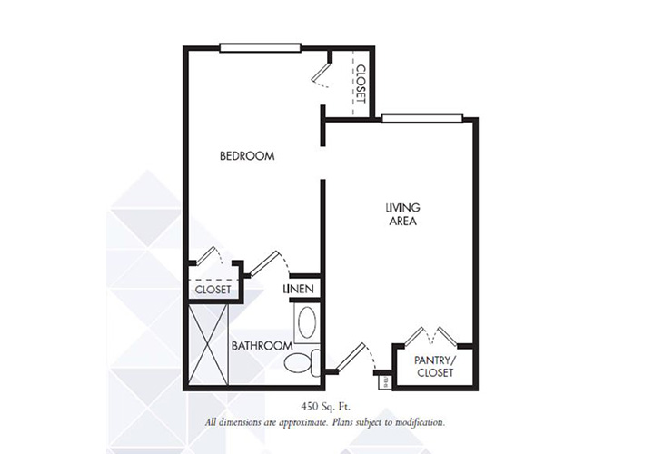 Gardens of Sun City Memory Care Kent Premium One Bedroom Floor Plan