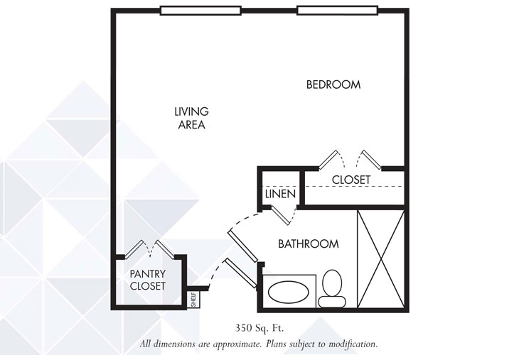 Gardens of Sun City Memory Care Nottingham Deluxe Studio Floor Plan