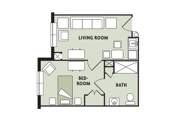 Haven Laurels Carolina Place Memory Care One Bedroom Floor Plan
