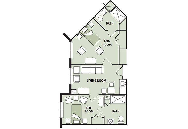 Haven Laurels Carolina Place Memory Care Two Bedroom Floor Plan