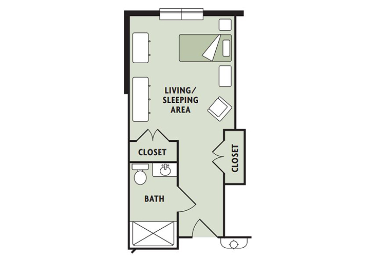 Haven Laurels Carolina Place Assisted Living studio Floor Plan