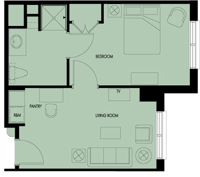 Haven Laurels Stone Oak Assisted Living One Bedroom Floor Plan