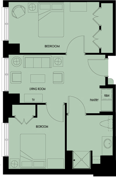 Haven Laurels Stone Oak Assisted Living Two Bedroom Floor Plan