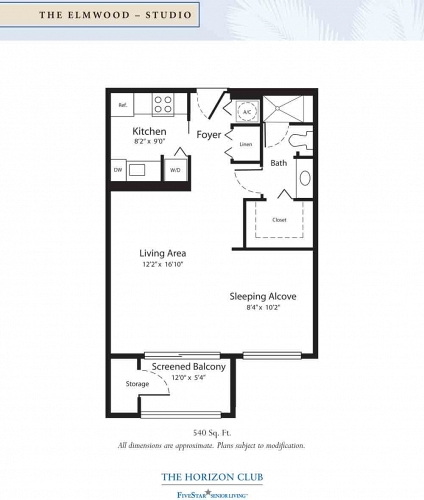 The Horizon Club Assisted Living Elmwood Floor Plan