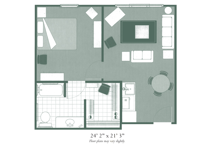 Morningside of Hopkinsville Assisted Living One Bedroom Deluxe Floor Plan