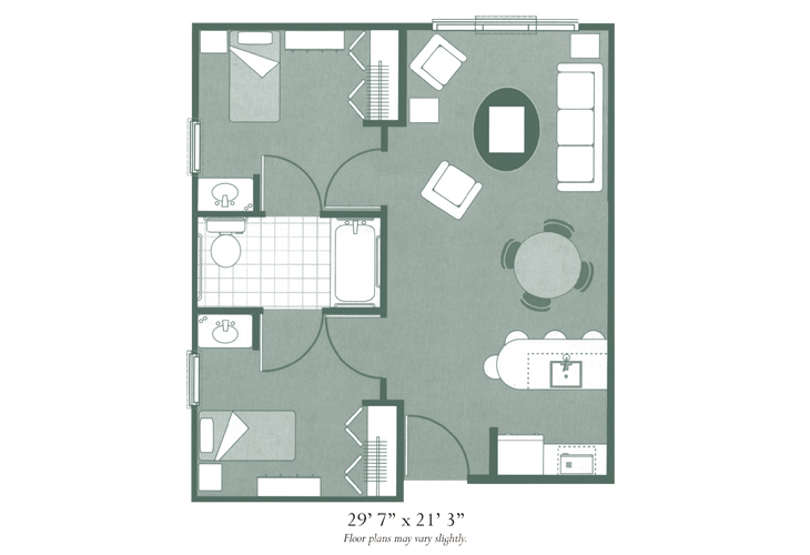 Morningside of Hopkinsville Assisted Living Two Bedroom Deluxe Floor Plan