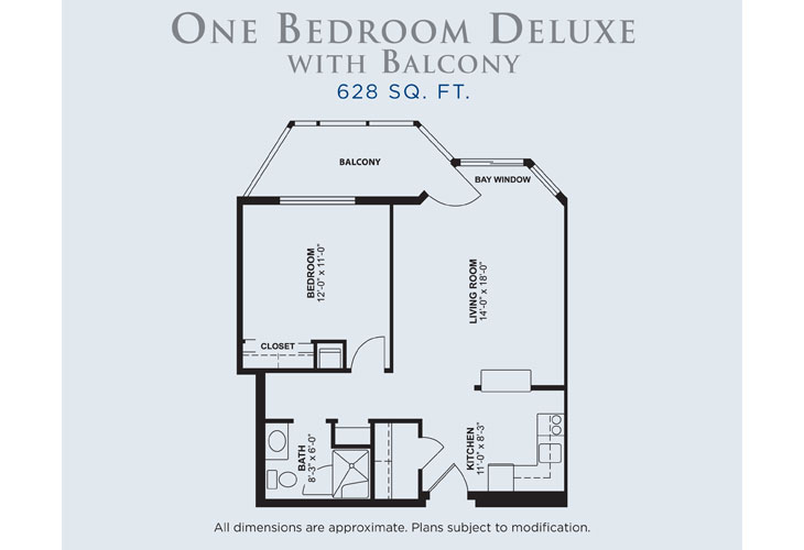 Palms of Fort Meyers Independent Living One Bedroom Deluxe Floor Plan