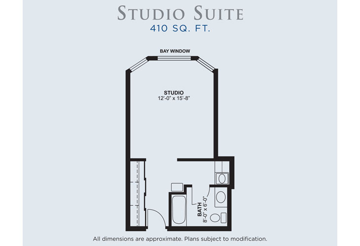Palms of Fort Meyers Memory Care Studio Suite Floor Plan