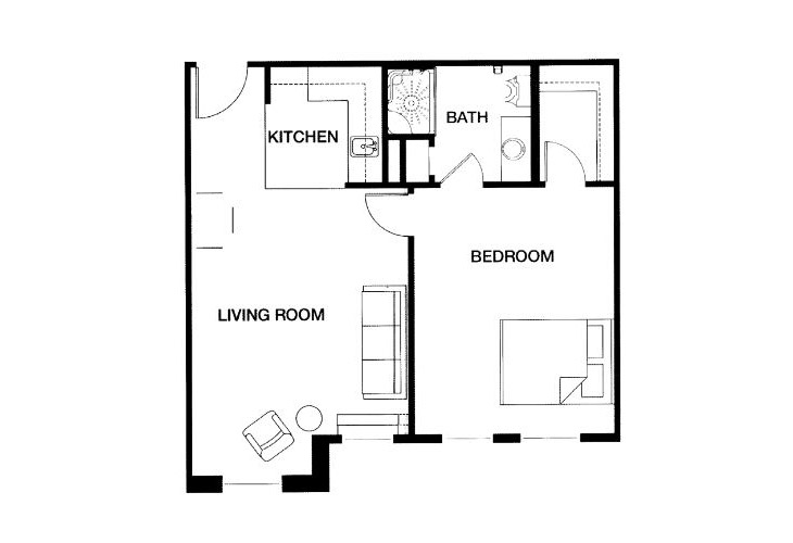 Park Place of West Knoxville Independent Living One Bedroom Floor Plan