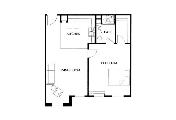 Park Place of West Knoxville Independent Living One Bedroom (1) Floor Plan