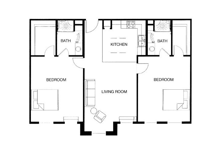 Park Place of West Knoxville Independent Living Two Bedroom Floor Plan