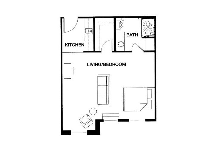Park Place of West Knoxville Independent Living Studio Floor Plan
