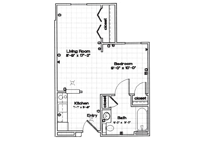 Park Square Manor Independent Living Studio Floor Plan